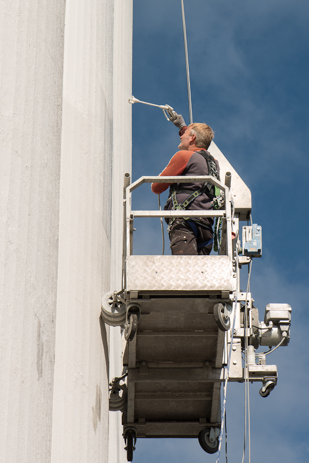 Maling af silo med lift